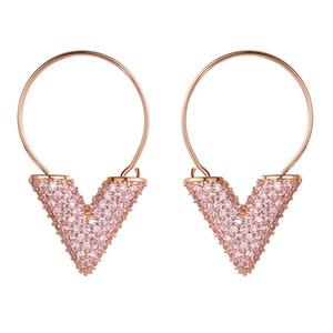 V boucles d'oreille bague en diamant d'oreille FS123
