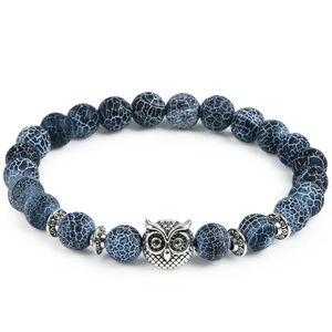 2018 Leopard Tiger Eye Lion Head Bracelet Owl Buddha perline Braccialetti Braccialetti Charm Bracciale in pietra naturale Yoga gioielli Uomo Donna