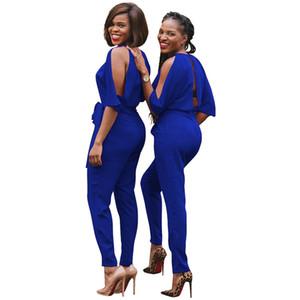 EleJumpsuit calças compridas Mulheres macacãozinho 2017 Autumn Sexy Batwing luva Slit Backless Sashes Belt Macacões Macacões Escritório