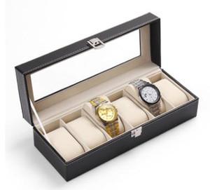 Watch Storage Box 6 Grid Wrist Watches Display Storage Bins Rectangle PU Leather Jewelry Organizer Gift Case