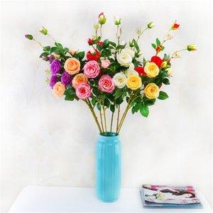 Novas Flores Artificiais Silk Tea Roses bouquet para o Casamento Decoração de Casa Rose Ano Novo de Natal plantas falsas Flores artificiais