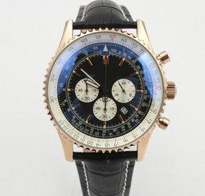 2019 style classique classique série MONTBRILLANT pour homme chronographe à quartz doré cadran noir bracelet en cuir montre-bracelet décontractée pour hommes
