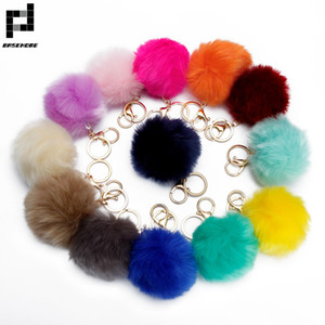 BASEHOME Trinket Pompons Keychains Faux  Fur Keychain Fluffy Key Chains Trinkets Pom Pom Keychain(Gold Color Chain)