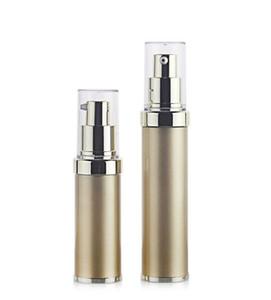 10 adet / grup, 15 ml PP + ABS Altın UV kaplama vakum şişe, kozmetik Özü ambalaj malzemeleri, emülsiyon doldurulabilir şişeler