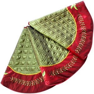 "Linen Slub Look diamond check quilted Christmas tree skirt Holly Leaves Embroidery Border -50"" P2683-5"