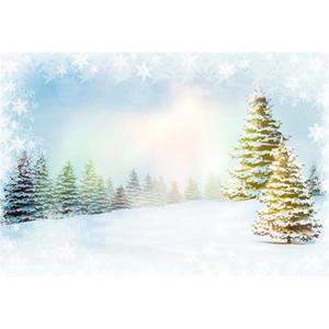 Snowflakes che cadono Bokeh Inverno Scenic Photography fondali Snow Covered Pine Trees Bambini bambini Photo Studio sfondi