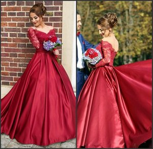 Satin V Neck Off The Shoulder Red Wedding Dresses With Long Lace Sleeves robe de mariee princesse de luxe