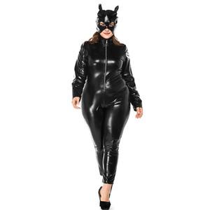 Plus Size Halloween Catwoman Costume Sexy nero Faux Leather Catsuit anteriore Zipper Stretch tuta Patry Cosplay tuta con maschera