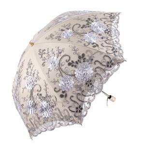 Ombrello Pieghevole Pioggia Donne Elegante Ombrello In Pizzo Antivento Ombrellone Parasole Ombrelloni Anti-UV Parasole Impermeabile