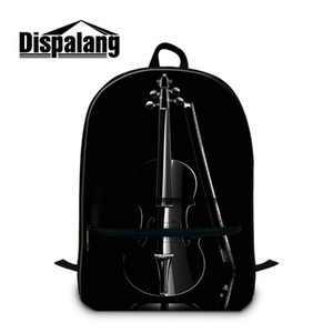 New Fashion Middle School estudantes bookbags Música Violino Impresso mochila para 14 Inch Notebook Laptop Canvas Mochila Unisex Mochilas Rugtas