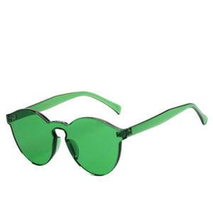 2018 neue Gelee-Frauen-runde einteilige randlose Sonnenbrille-rahmenlose transparente Süßigkeit-Farben-Brillen 10pcs / lot