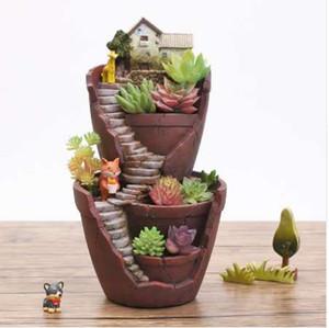 YXYT Reçine Saksı Etli Bitkiler Tencere Pastoral Bahçe Bonsai Dikim Mikro Peyzaj saksı Bahçe Ev Dekorasyon