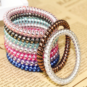 100pcs Telephone Line Ponytail Holders Elastic Hairband Headband Ring Rope Gum Cord For Hair Styling candy color