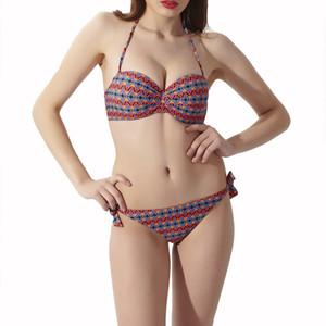 Две части Swinwear цветочный принт сексуальные женщины бикини купальники бандаж купальники с низкой талией пуш-ап пляж купальный костюм оптом