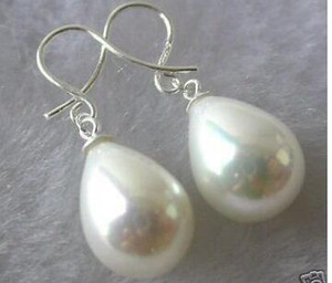 Free shipping Fine 11-15mm white shell pearl imitation pearl 925 silver earrings