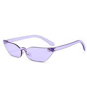 2018 Unique Tiny Diamond Sunglasses Mujeres Retro purple Frame Small Cat Gafas de sol Candy Color Purple Glasses Mujer NX