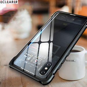 Original de aluminio de metal Bumper + Clear Tempered Glass Cover Case para Xiaomi Mi 8 Luxury Case a prueba de golpes para Xiaomi Mi8 Explorer