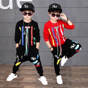 Abbigliamento per bambini Ragazzi Sports Sets Hip Hop Felpa Pantaloni 2 pezzi Suit Abiti di Natale Autunno Bambino manica lunga regalo Abbigliamento per la casa WX9-966
