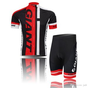 2019 야외 스포츠 자이언트로드 스포츠웨어 남성 의류 사이클 착용 Skinsuit 팀 자전거 자전거 사이클링 유니폼 셔츠 + 턱받이 반바지 세트 Y052701