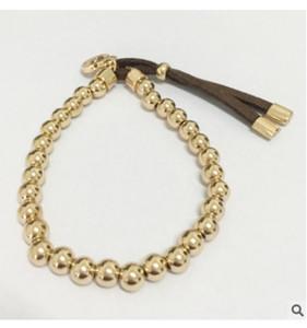Marca Bola Pulseira Mulheres Real Sólido Ouro Amarelo Branco Preto Rosa de Ouro Rodada Beads Pulseiras Jóias Cadeia de Mão coração