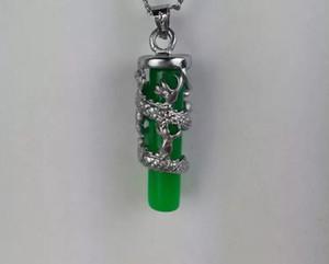 verde libero di trasporto collana pendente Jade lungo Zhu ritenzione ciondolo colore silver plated Jade Dragon pilastri C4 all'ingrosso