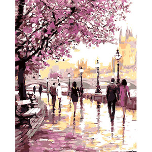 DIY Painting Paint by Numbers Cherry Blossoms Park Drawing With Brushes Paint for Adults Beginner Level 40x50cm (16 * 20 inch)