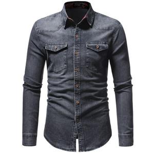 2018 Men Shirt Classic Casual Demin Shirt Long Sleeve -Clothing Social Chemise Homme Jeans Wear Plus Size XXXL