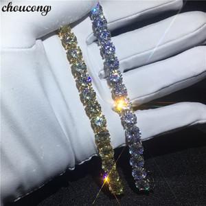 Vecalon pulsera de tenis hecha a mano blanco oro amarillo lleno 8 mm 5A Zircon cz pulseras de boda para mujer moda Jewerly