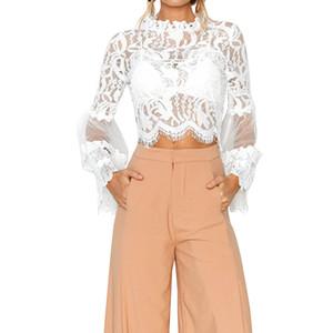 2018 nouveau style de la mode printemps des femmes en mousseline de soie chemise mince ronde trompette manches en dentelle couture creuse chemise dentelle haut