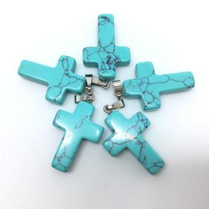 Turquesa Turquoise Cruz granos de los colgantes de plata Loose Fit pulseras plateadas gancho y el collar DIY fabricación de joyas