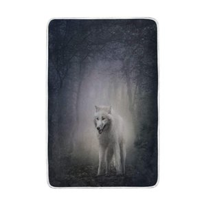 White Wolf Nature Forest Blanket Soft Warm Cozy Bed Couch Lightweight Polyester Microfiber Blanket