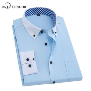 Collar Plaid impreso hombres de la boda Camisas de manga larga de los hombres del desgaste del trabajo Camisas de vestir Hombre Moda primavera otoño sólido YN10161