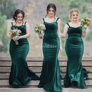 Plus Taille Hunter Vert Velours Robes De Demoiselle D'honneur De Spaghetti Balayer Train Jardin Pays Western De Mariage Robes D'hôtes Demoiselle D'honneur