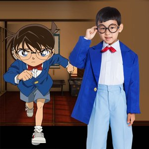 아시안 사이즈 일본 애니메이션 어린이 아동 형사 코난에도가와 할로윈 유니섹스 코스프레 의상 제복 풀세트