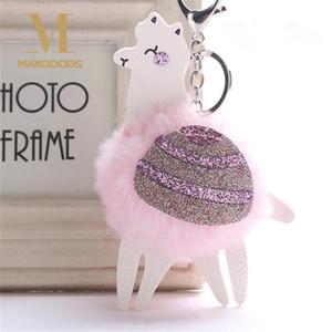 Mignon Fluffy Lapin Boule De Fourrure Porte-clés Blingbling PU En Cuir Sequin Alpaca Trousseau Pompon Animal Porte-clés Charme Bibelot Chaveiros