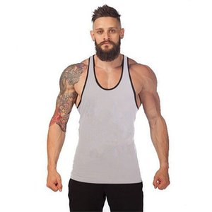 Hombres Active Vest Workout Muscle Fitness Tops Color caramelo Algodón Deportes Tanques sin mangas Tshirts