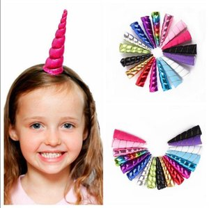 Crianças unicórnio chifre headband do partido head band unicorn hairband princesa festa de aniversário chapelaria acessórios para o cabelo 10 cores