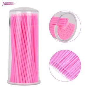 100 pcs Jetable Micro Brush Extensions De Cils Enlèvement Portable Mini Coton Individuel Tampon Faux Cils Maquillage Applicateur Bâton