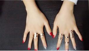 Venta barata Cool Gold Metal Stack Skull Bow joyería nupcial Nail Band medio dedo superior anillo conjunto alta calidad anillos