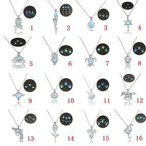 16 конструкций роскошь светятся в темный камень ожерелье открыть 3 цвета световой жемчужина клетка кулон ожерелья для дамы ювелирные изделия KKA1703
