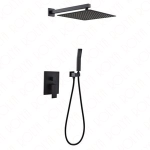 Rolya Square Style Matte Black Bathroom Shower Set Cascada oculta en la pared ducha de ducha grifo de lujo de latón macizo