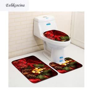 75 * 45 cm circa 3 pezzi tappetini da bagno nastro rosso Natale antiscivolo set tappetino bagno Tapete Banheiro tappeti igienici lavabili Alfombra Bano