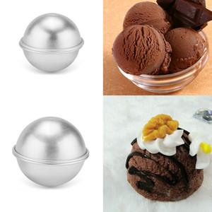 Venta al por mayor - Venta caliente 6pcs / pack 3D Aleación de aluminio Bola Esfera Bañera Bomba Molde Cake Puddings Pan Tin Baking Pastelería Molde 4.5 cm 5.5 cm 6.5cm