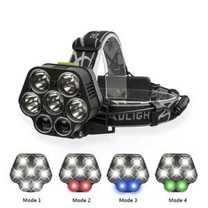 20000lm LED de alta potência usb farol cobrando cabeça da tocha levou 6 cabeça da lâmpada de pesca luz recarregável caça luz