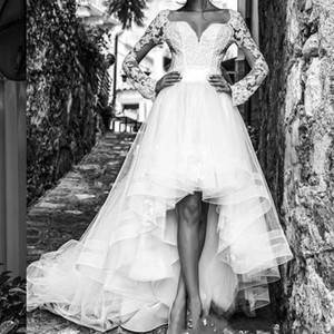 Cheap 2017 Modest High Low Wedding Dresses with Long Sleeves Short Front Long Back Tulle Sash Sweetheart Garden Beach Bridal Gowns