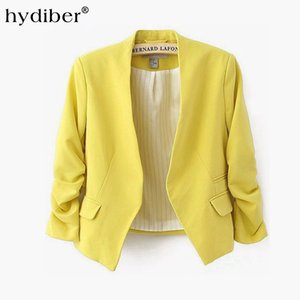 2016 new arrival spring autumn fashion  blazer women Candy Color ladies coat Slim Solid puff sleeve blazers Basic jackets
