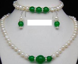Doğal-7-8mm-Beyaz-İnci-amp-Yeşil-Jade-Taşlar-kolye-bilezik-Küpe-Set-18-034-7-5 Doğal-7-8mm-Beyaz-İnci-amp-Yeşil-Jade-Ge