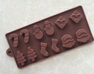Moldes para hornear de navidad molde de pastel de silicona moldes de chocolate árbol de navidad vara calcetín muñeco de nieve diy molde para hornear
