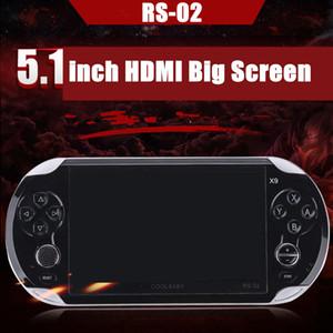 RS-02 X9 Reproductores de juegos portátiles Videoconsola Videojuegos Pantalla de 5.1 pulgadas Juegos de 8GB Soporta descargas con función de memoria