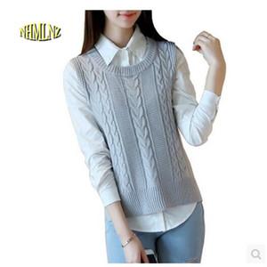 2018 Chinois Nouvel An Gilet Femmes Casual Couleur Pure Sans Manches Pull Lâche Coréen Haute qualité Femmes tricot Chandail Gilet OK53